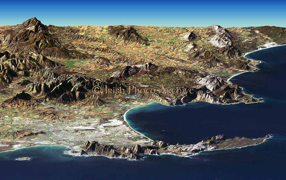 Cape Town and Cape of Good Hope, South Africa, in foreground of perspective view generated from  Landsat satellite image and elevation data from the Shuttle Radar Topography Mission (SRTM).  Credit NASA. Science Earth Geology