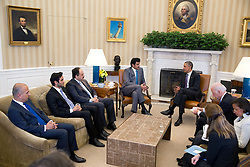 President Barack Obama holds a bilateral meeting with the Amir of Qatar, His Highness Sheikh Tamim bin Hamad al Thani in the Oval Office, Feb. 24, 2015. (Official White House Photo by Pete Souza)<br /> <br /> This official White House photograph is being made available only for publication by news organizations and/or for personal use printing by the subject(s) of the photograph. The photograph may not be manipulated in any way and may not be used in commercial or political materials, advertisements, emails, products, promotions that in any way suggests approval or endorsement of the President, the First Family, or the White House.