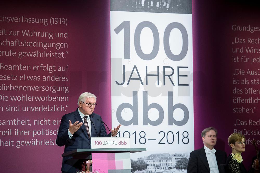 29 NOV 2018, BERLIN/GERMANY:<br /> Festakt mit Bundespraesident Steinmeier anl. des 100. Gruendungsjubilaeums des Beamtenbunds, dbb forum berlin<br /> IMAGE: 20181129-01-122<br /> KEYWORDS;´: Gründung, Jubiläum,