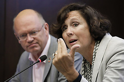 October 8, 2018 - Brussels, Belgium - JEAN-PASCAL VAN YPERSELE, left, representing KUL listens as SANDRINE DIXSON-DECLEVE, representing Club of Rome, speaks during a Climate Action Network Europe press briefing regarding the Global Environment Information Centre (GEIC) report 'Global Warming of 1.5 degrees C.' (Credit Image: © Thierry Roge/Belga via ZUMA Press)