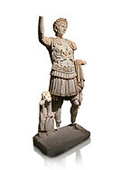 Roman statue of Emperor Trajan. Marble. Perge. 2nd century AD. Inv no . Antalya Archaeology Museum; Turkey. Against a white background.<br /> Trajan Roma Emperor  from 98 to 117 AD. .<br /> <br /> If you prefer to buy from our ALAMY STOCK LIBRARY page at https://www.alamy.com/portfolio/paul-williams-funkystock/greco-roman-sculptures.html . Type -    Antalya     - into LOWER SEARCH WITHIN GALLERY box - Refine search by adding a subject, place, background colour, museum etc.<br /> <br /> Visit our ROMAN WORLD PHOTO COLLECTIONS for more photos to download or buy as wall art prints https://funkystock.photoshelter.com/gallery-collection/The-Romans-Art-Artefacts-Antiquities-Historic-Sites-Pictures-Images/C0000r2uLJJo9_s0