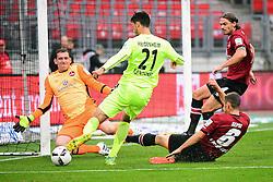 12.08.2016, Grundig Stadion, Nuernberg, GER, 2. FBL, 1. FC Nuernberg vs 1. FC Heidenheim, 2. Runde, im Bild Tim Kleindienst (1. FC Heidenheim / Mitte) beim Torschuss gegen Raphael Schaefer (1. FC Nuernberg / links). Mit im Bild (v.l.n.r.): Laszlo Sepsi (1. FC Nuernberg) und Dave Bulthuis (1. FC Nuernberg) // during the 2nd German Bundesliga 2nd round match between 1. FC Nuernberg and 1. FC Heidenheim at the Grundig Stadion in Nuernberg, Germany on 2016/08/12. EXPA Pictures © 2016, PhotoCredit: EXPA/ Eibner-Pressefoto/ Merz<br /> <br /> *****ATTENTION - OUT of GER*****