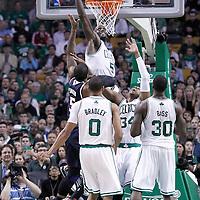 10 May 2012: Boston Celtics power forward Kevin Garnett (5) blocks Atlanta Hawks power forward Josh Smith (5) layup during the Boston Celtics 83-80 victory over the Atlanta Hawks, in Game 6 of the Eastern Conference first-round playoff series, at the TD Banknorth Garden, Boston, Massachusetts, USA.