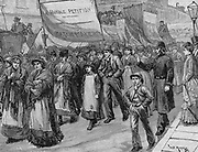 A halfpenny tax per box was put on matches in 1871.  Matchmakers were some of the most poorly paid works in the East End of London. Their march from Bethnal Green to Whitehall resulted in the tax being withdrawn.  Engraving c1880.
