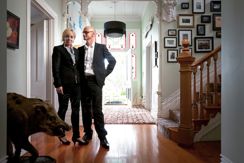 Justine Troy and Geoff Ross, the founders of 42 Below, and Ecoya, in their Herne Bay home. Photographed for Metro magazine.