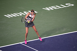 March 9, 2019 - Indian Wells, CA, U.S. - INDIAN WELLS, CA - MARCH 09: Petra Kvitova (CZE) hits a backhand during the BNP Paribas Open on March 9, 2019 at Indian Wells Tennis Garden in Indian Wells, CA. (Photo by George Walker/Icon Sportswire) (Credit Image: © George Walker/Icon SMI via ZUMA Press)