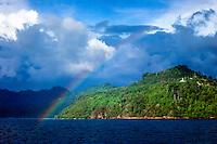 West Sumatra, Padang. Rainbow west of the Teluk Bayur port.