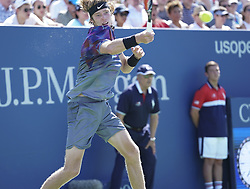 September 4, 2017 - New York, New York, United States - Andrey Rublev of Russia returns ball during match against David Goffin of Belgium at US Open Championships at Billie Jean King National Tennis Center  (Credit Image: © Lev Radin/Pacific Press via ZUMA Wire)