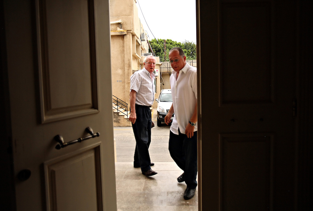 British journalist Robert Fisk visits with longtime source and friend Hassan Siklawi, assistant to the senior adviser with the United Nations Interim Force in Lebanon, UNIFIL, in Beirut, Lebanon on March 25, 2008. His new book is The Age of the Warrior: Selected Essays by Robert Fisk, a collection of his Saturday columns for the British newspaper The Independent.