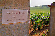 La Grande Rue Domaine Francois Lamarche, inscribed on a stone pillar in the Grand Cru vineyard, Vosne Romanee, Bourgogne
