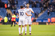 Crystal Palace #10 Andros Townsend, Crystal Palace #5 James Tomkins after the Premier League match between Leicester City and Crystal Palace at the King Power Stadium, Leicester, England on 16 December 2017. Photo by Sebastian Frej.