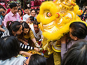 "08 FEBRUARY 2016 - BANGKOK, THAILAND:  Spectators tip, in the form of offerings, lion dancers performing for Chinese New Year at a small Chinese shrine in Bangkok's Chinatown district, during the celebration of the Lunar New Year. Chinese New Year is also called Lunar New Year or Tet (in Vietnamese communities). This year is the ""Year of the Monkey."" Thailand has the largest overseas Chinese population in the world; about 14 percent of Thais are of Chinese ancestry and some Chinese holidays, especially Chinese New Year, are widely celebrated in Thailand.      PHOTO BY JACK KURTZ"
