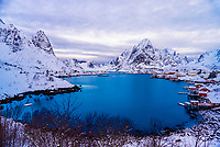 The fishing village of Reine, on Moskenseoya Island in the Lofoten Islands, Arctic, Northern Norway.