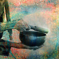 Aged hands of a woman ringing a Tibetan bowl. Photo based illustration.
