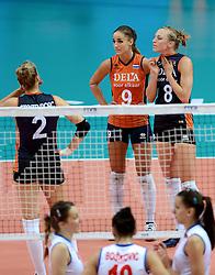 01-10-2014 ITA: World Championship Volleyball Servie - Nederland, Verona<br /> Nederland verliest met 3-0 van Servie en is kansloos voor plaatsing final 6 / Myrthe Schoot, Judith Pietersen
