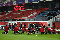 LEUVEN, BELGIUM - Wednesday, March 24, 2021: Wales substitutes during the pre-match warm-up before the FIFA World Cup Qatar 2022 European Qualifying Group E game between Belgium and Wales at the King Power Den dreef Stadium. Belgium won 3-1. (Pic by Vincent Van Doornick/Isosport/Propaganda)