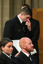 © Licensed to London News Pictures. 05/01/2018. Manchester, UK. PCSO MARK RENSHAW receives a Highly Commended award . Police officers and railway workers who came to the aid of victims in the wake of the terrorist attack at an Arina Grande concert at the Manchester Arena in May 2017 are honoured at a commendation ceremony at the Great Hall at Manchester Town Hall. Amongst those honoured are officers from British Transport Police and Northern Rail staff . Photo credit: Joel Goodman/LNP