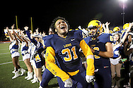 McKinney's Jeremy Rios celebrates following a game between McKinney High and Plano Senior High on Friday, Sept. 30, 2016 at Ron Poe Stadium in McKinney. It was McKinney High's homecoming game. McKinney won 31-28. (Photo by Kevin Bartram/buzzphotos.com