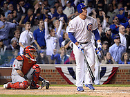 CHICAGO, IL - OCTOBER 12:  Anthony Rizzo #44 of the Chicago Cubs watches the flight of his home run in the fifth inning during Game 3 of the NLDS against the St. Louis Cardinals at Wrigley Field on Monday, October 12, 2015 in Chicago , Illinois. (Photo by Ron Vesely/MLB Photos via Getty Images) *** Local Caption *** Anthony Rizzo