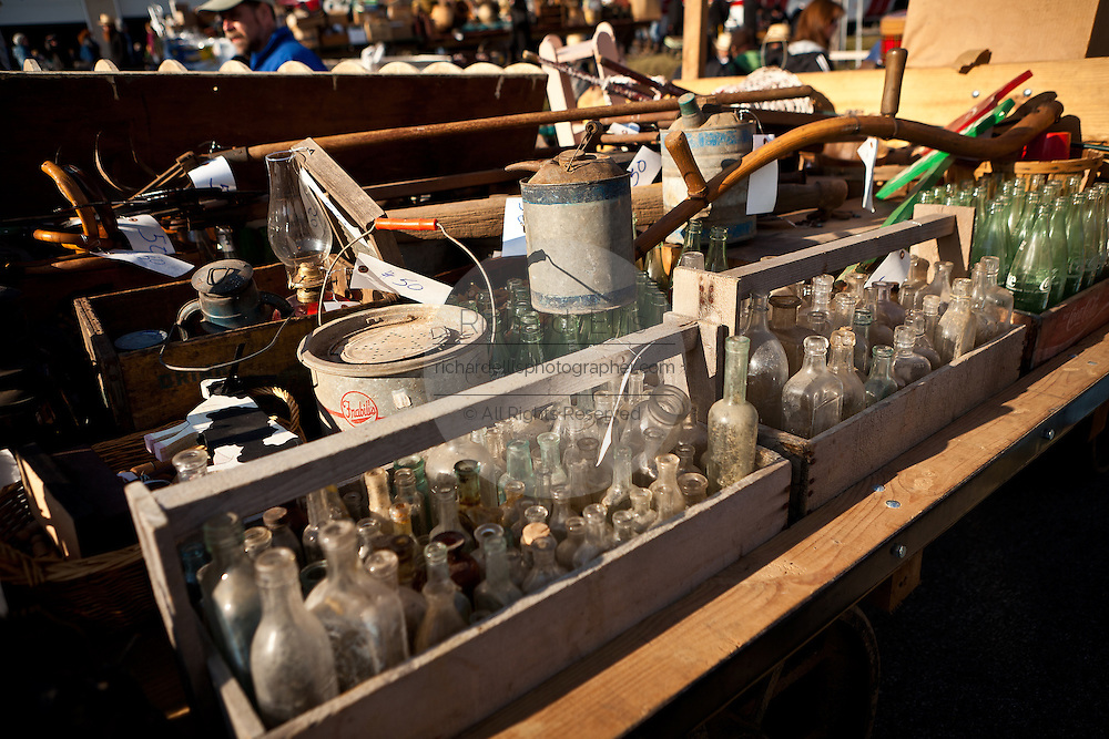 Old bottles at auction during the Annual Mud Sale to support the Fire Department  in Gordonville, PA.