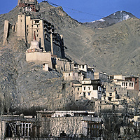 Ladakh, India. Fortress & monastery above capital city of Leh, an ancient trade center.