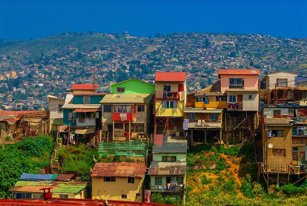 Houses on a hillside, Valparaiso, Chile