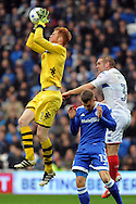 Wigan goalkeeper Adam Bogdan (l) claims a catch under pressure from Cardiff's Anthony Pilkington (13). EFL Skybet championship match, Cardiff city v Wigan Athletic at the Cardiff city stadium in Cardiff, South Wales on Saturday 29th October 2016.<br /> pic by Carl Robertson, Andrew Orchard sports photography.