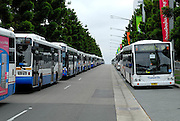 Some of the hundreds of buses waiting for the crowd watching the 2008 Rugby League Grand Final at Sydney Olympic Stadium. Sydney, Australia