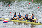 Poznan, POLAND, 21st June 2019, Friday, Morning Heats, USA M4- /1 (b) DETHLEFS Thomas, (2)HARRITY Conor, (3)RICHARDS Alexander and WALLIS Alexander,  FISA World Rowing Cup II, Malta Lake Course, © Peter SPURRIER/Intersport Images,<br /> <br /> 11:49:17
