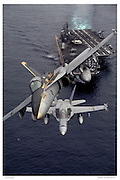 F-18s launched from aircraft carrier