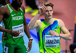 BIRMINGHAM, ENGLAND - MARCH 02:  Luka Janezic of Slovenia reacts during round 1 of the Men's 400m at the IAAF World Indoor Championships at Arena Birmingham on March 2, 2018 in Birmingham, England. Photo by Ronald Hoogendoorn / Sportida