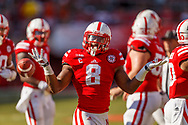 Ameer Abdullah reacts during a record day to start his senior campaign when he sprinted for a career-high 232 yards in a 55-7 win over Florida Atlantic on Aug. 30, 2014 at Memorial Stadium. © Aaron Babcock