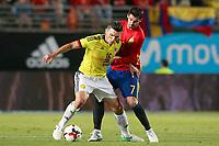 Spain's Alvaro Morata (r) and Colombia's Daniel Torres during international friendly match. June 7,2017.(ALTERPHOTOS/Acero)