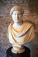 Marble statue bust of Emperor Hadrian at Hadrian's Villa ( Villa Adriana ) museum, Tivoli, Italy. A UNESCO World Heritage Site. .<br /> <br /> If you prefer to buy from our ALAMY PHOTO LIBRARY  Collection visit : https://www.alamy.com/portfolio/paul-williams-funkystock/hadrians-villa-tivoli.html<br /> Visit our CLASSICAL WORLD HISTORIC SITES PHOTO COLLECTIONS for more photos to buy as buy as wall art prints https://funkystock.photoshelter.com/gallery-collection/Classical-Era-Historic-Sites-Archaeological-Sites-Pictures-Images/C0000g4bSGiDL9rw