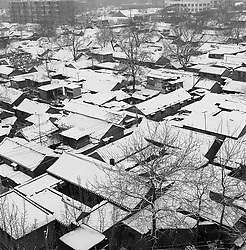 Rooftops covered in snow in Beijing China
