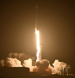 10-7-18. Vandenberg AFB. CA. SpaceX F9 steaks across the west coast after a successfully launched of a Falcon 9 rocket Sunday at 7:21 p.m, with a SAOCOM 1A, a radar observation satellite for Argentina, then returned the booster to a landing at Vandenberg Air Force Base, California, for the first time. . Photo by Gene Blevins/LA DailyNews/ZUMAPRESS (Credit Image: © Gene Blevins/ZUMA Wire)