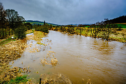The River Tweed in flood in the Tweed valley between Broughton and Peebles in the Scottish Borders. The aftermath of Storm Doris.<br /> <br /> (c) Andrew Wilson | Edinburgh Elite media
