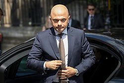 © Licensed to London News Pictures. 03/06/2018. London, UK. Home Secretary Sajid Javid arrives at Southwark Cathederal for a service of commemoration to mark one year since the London Bridge and Borough Market terror attacks. A series of events have taken place throughout the day, including a service of commemoration at Southwark Cathedral, the planting of an olive tree in the Cathedral grounds, a minute's silence at 4:30pm and the laying of flowers.  Photo credit : Tom Nicholson/LNP