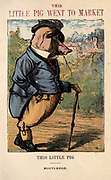 This little pig went to market From the book ' A apple pie and other nursery tales : forty-eight pages of illustrations : printed in colours by Kronheim & Co ' Published by  : George Routledge and Sons 1870