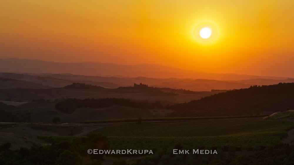 Tuscan landscape at sunset.