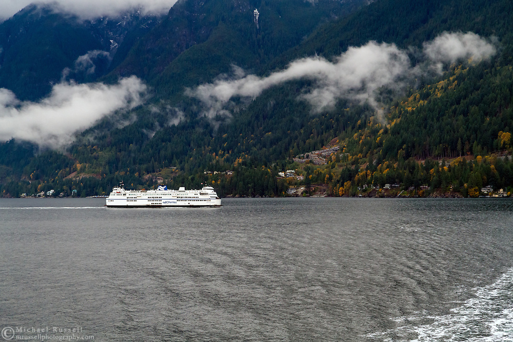 "The car ferry ""Queen of Surrey"" sails toward Horseshoe Bay, British Columbia, Canada"