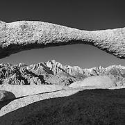 Lathe Arch And Mt Whitney - Alabama Hills CA - Black & White