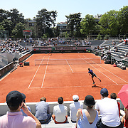 PARIS, FRANCE June 10. A general view of Sean Cuenin of France in action against Shang Juncheng of China in the quarter finals of the Junior Singles competition at the 2021 French Open Tennis Tournament at Roland Garros on June 10th 2021 in Paris, France. (Photo by Tim Clayton/Corbis via Getty Images)