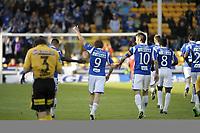 Fotball<br /> Tippeligaen<br /> 16 mai 2011<br /> Lillestrøm - Molde<br /> Mattias Mostrøm , Molde jubler med laget etter 3 - 0 scoring<br /> Foto : Reidar Talset , Digitalsport