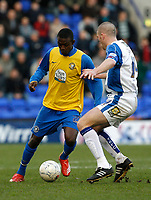 Photo: Paul Greenwood.<br />Tranmere Rovers v Hereford City. FA Cup Third Round. 05/01/2008. <br />Hereford's Theo Robinson, (L) takes on Ben Chorley