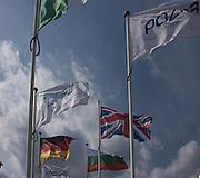 Poznan. Poland. Fluttering flags. FISA 2015 European Rowing Championships. Venue Lake Malta. 28.05.2015. [Mandatory Credit: Peter Spurrier/Intersport-images.com]