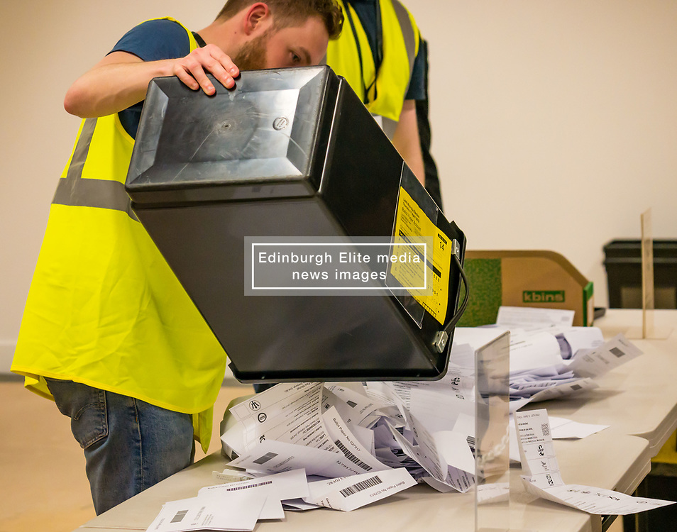 Pictured: Leith Walk Council By-Election. Edinburgh City Council, Edinburgh, Scotland, 11 April 2019. Pictured: The ballot boxes arrive. 25,526 residents are registered to vote in one of the most densely populated areas in Scotland under the Single Transferable Vote (STV) system. This is the first time in Scotland that an STV by-election has been needed to fill two vacancies in the same ward, held as a result of the resignation of Councillor Marion Donaldson. The election fielded 11 candidates, including the first ever candidate for the For Britain Movement in Scotland, Paul Stirling, founded by former UKIP leadership candidate Anne Marie Waters in March 2018.<br /> <br /> Sally Anderson   EdinburghElitemedia.co.uk