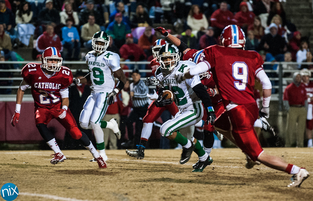 Kannapolis' Casey Walker looks for running room against Charlotte Catholic in the third round of the NCHSAA playoffs Friday night in Charlotte. Catholic won the game 49-18. (photo by James Nix)