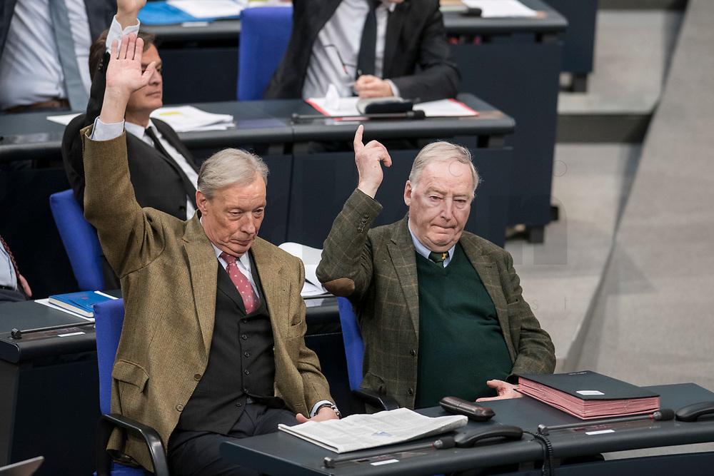14 FEB 2019, BERLIN/GERMANY:<br /> Armin Paulus Hampel (L), MdB, AfD, und Alexander Gauland (R), MdB, AFD Fraktionsvorsitzender, Abstimmung, Bundestagsdebatte, Plenum, Deutscher Bundestag<br /> IMAGE: 20190214-01-004<br /> KEYWORDS: Bundestag, Debatte