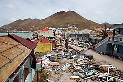 View of the partially buildings destroyed by Irma during the visit of France's President Emmanuel Macron in the French Caribbean islands of St. Martin, Tuesday, Sept. 12, 2017. Macron is in the French-Dutch island of St. Martin, where 10 people were killed on the French side and four on the Dutch. Photo by Christophe Ena/Pool/ABACAPRESS.COM